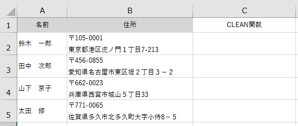clean関数の説明